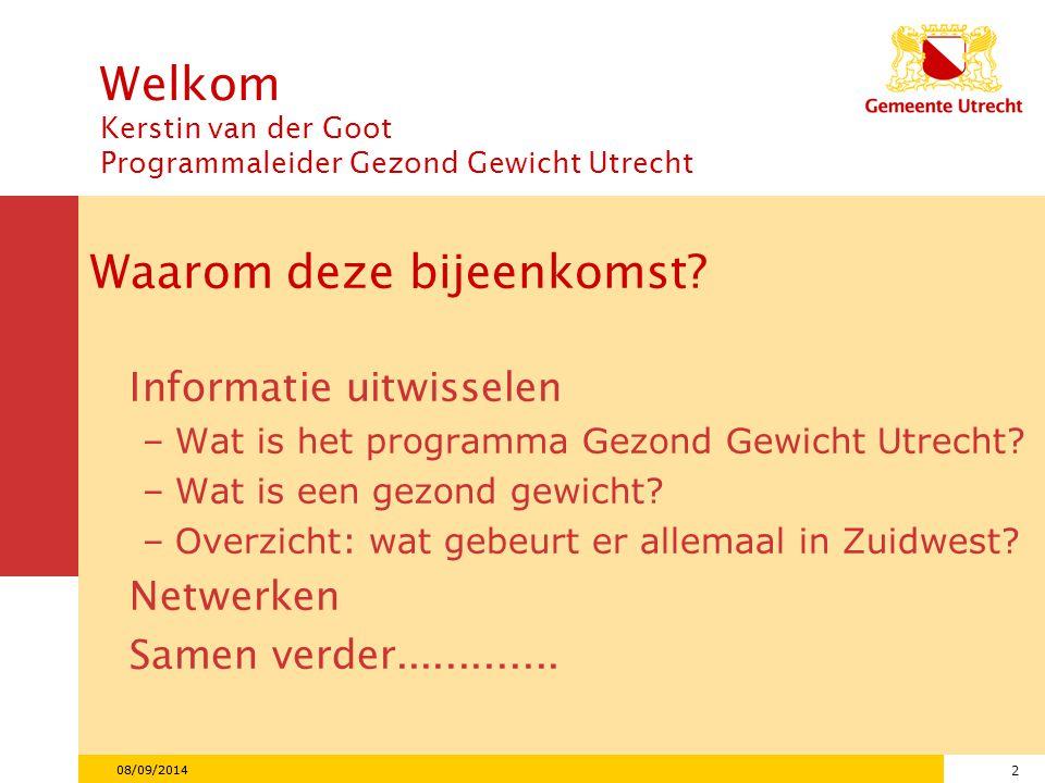 13 08/09/2014 Hoe is het in Utrecht? Verdeling naar wijk bij jeugd