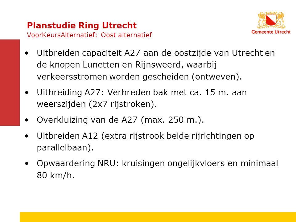 Inzichtelijk maken mogelijk positieve effecten op leefbaarheid (lucht en geluid) van 80 km/u op de NRU en de rest van de Ring.