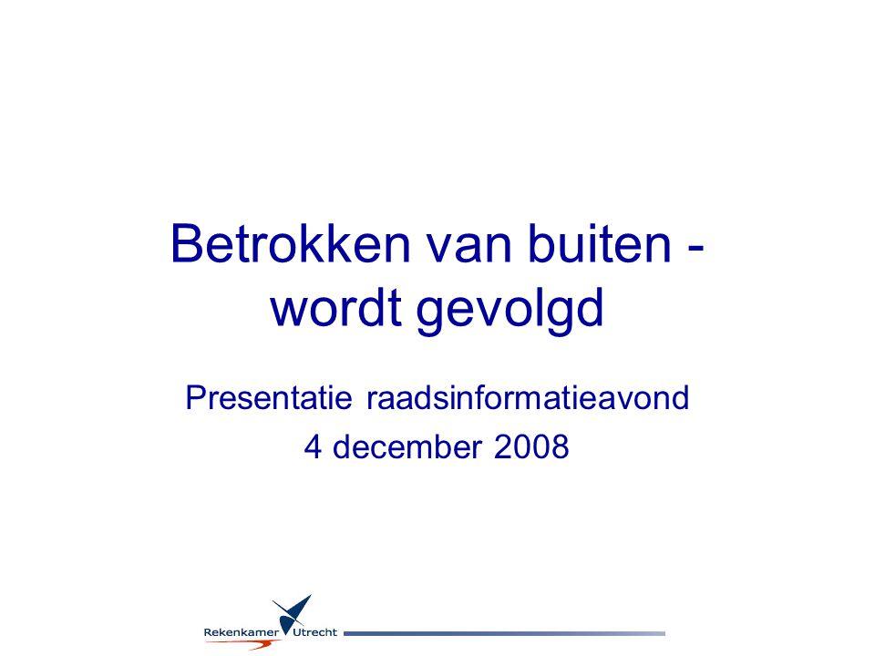 Betrokken van buiten - wordt gevolgd Presentatie raadsinformatieavond 4 december 2008