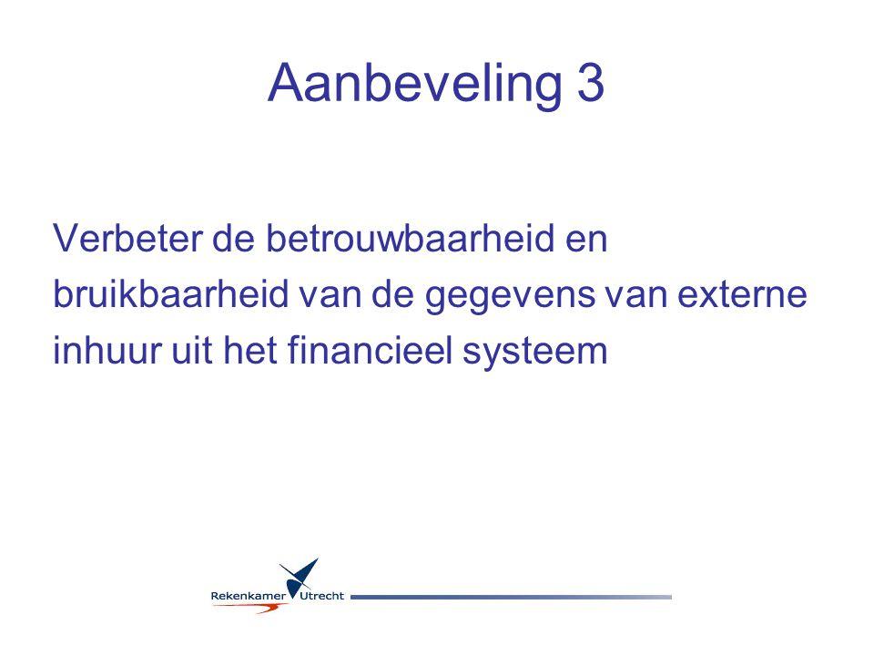 Aanbeveling 3 Verbeter de betrouwbaarheid en bruikbaarheid van de gegevens van externe inhuur uit het financieel systeem