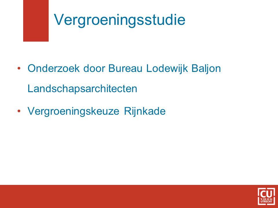 Vergroeningsstudie Onderzoek door Bureau Lodewijk Baljon Landschapsarchitecten Vergroeningskeuze Rijnkade
