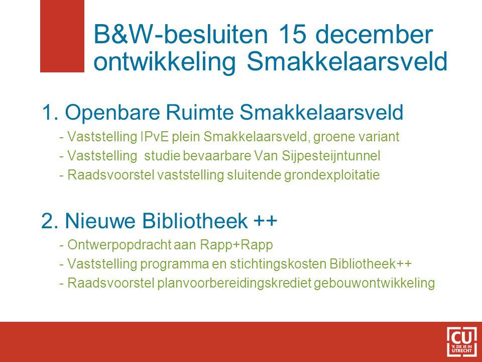 B&W-besluiten 15 december ontwikkeling Smakkelaarsveld 1. Openbare Ruimte Smakkelaarsveld - Vaststelling IPvE plein Smakkelaarsveld, groene variant -