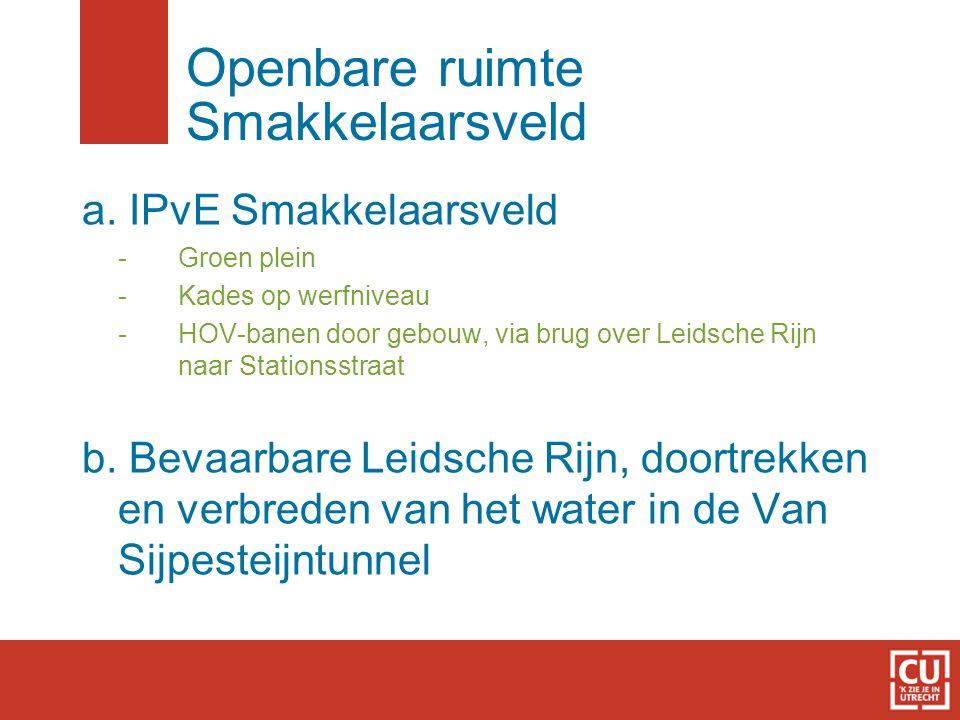 Openbare ruimte Smakkelaarsveld a. IPvE Smakkelaarsveld - Groen plein - Kades op werfniveau - HOV-banen door gebouw, via brug over Leidsche Rijn naar