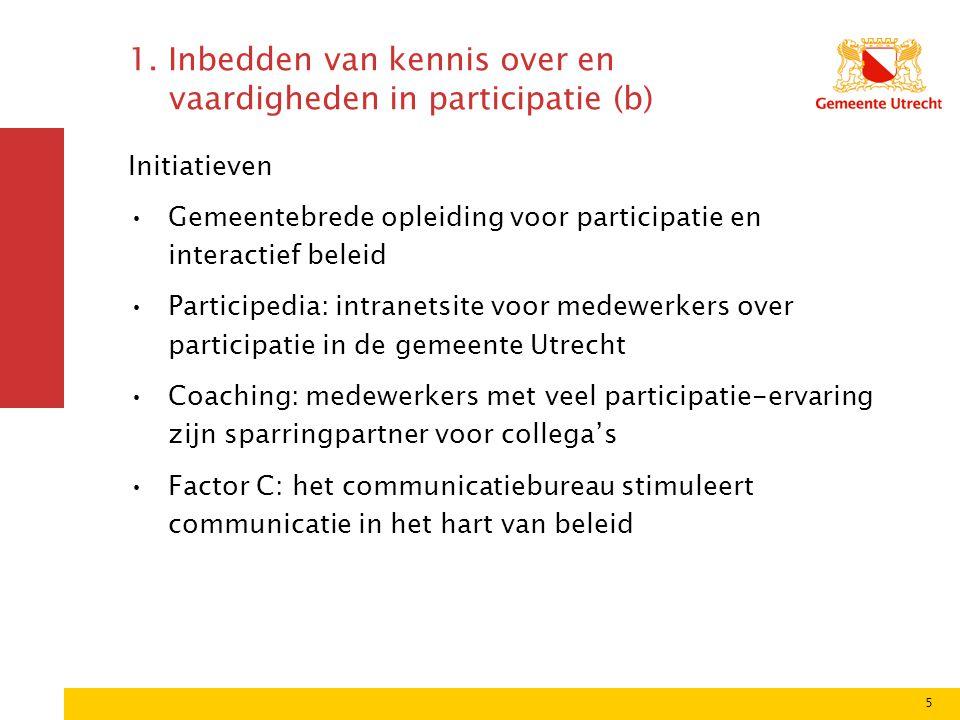 5 1. Inbedden van kennis over en vaardigheden in participatie (b) Initiatieven Gemeentebrede opleiding voor participatie en interactief beleid Partici