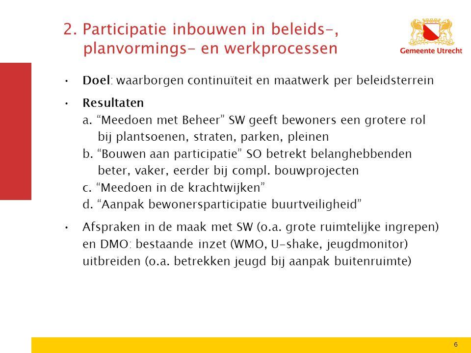 """6 2. Participatie inbouwen in beleids-, planvormings- en werkprocessen Doel: waarborgen continuïteit en maatwerk per beleidsterrein Resultaten a. """"Mee"""