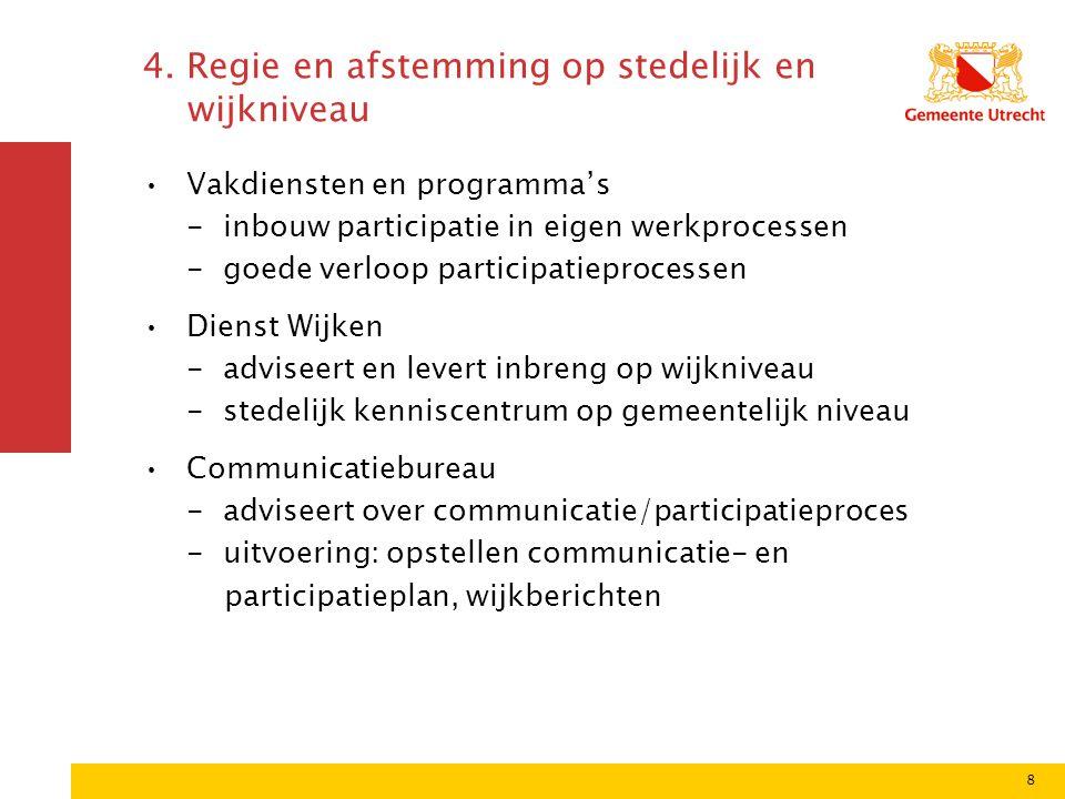 8 4. Regie en afstemming op stedelijk en wijkniveau Vakdiensten en programma's - inbouw participatie in eigen werkprocessen - goede verloop participat