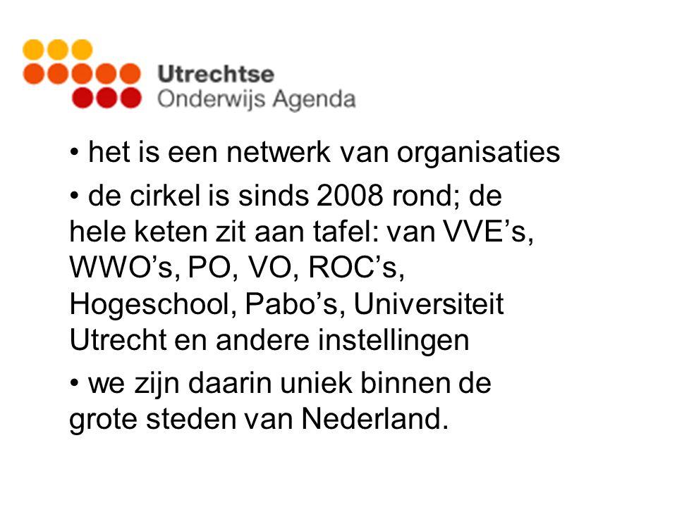 het is een netwerk van organisaties de cirkel is sinds 2008 rond; de hele keten zit aan tafel: van VVE's, WWO's, PO, VO, ROC's, Hogeschool, Pabo's, Universiteit Utrecht en andere instellingen we zijn daarin uniek binnen de grote steden van Nederland.