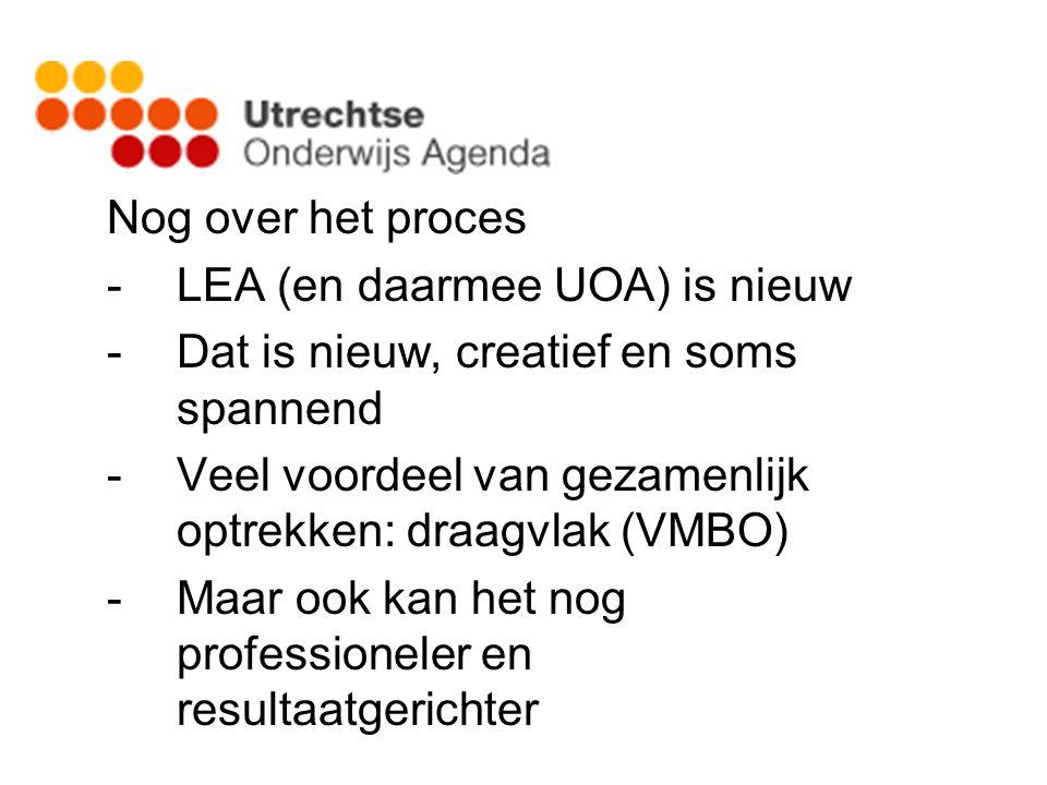 Nog over het proces -LEA (en daarmee UOA) is nieuw -Dat is nieuw, creatief en soms spannend -Veel voordeel van gezamenlijk optrekken: draagvlak (VMBO) -Maar ook kan het nog professioneler en resultaatgerichter