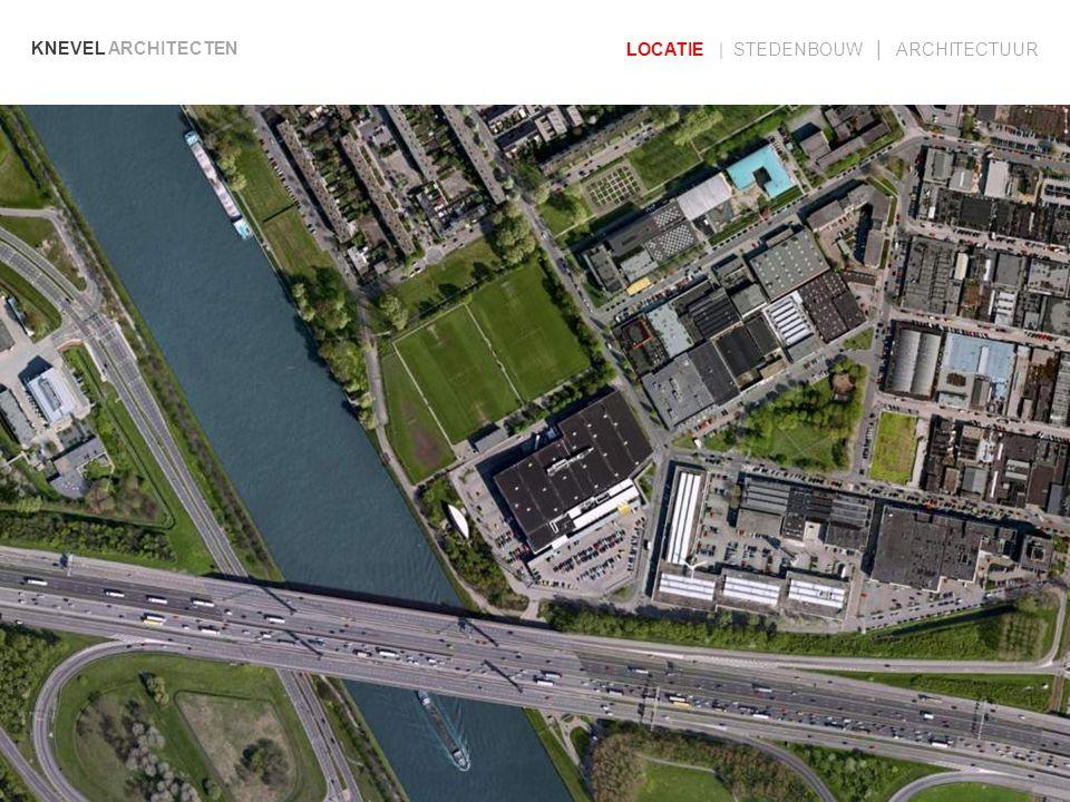KNEVEL ARCHITECTEN LOCATIE | STEDENBOUW | ARCHITECTUUR West –Zuidwest gevel Oostgevel Noordgevel Langsdoorsnede over winkel, parkeergebouw en voetbalvelden gevels en doorsnede