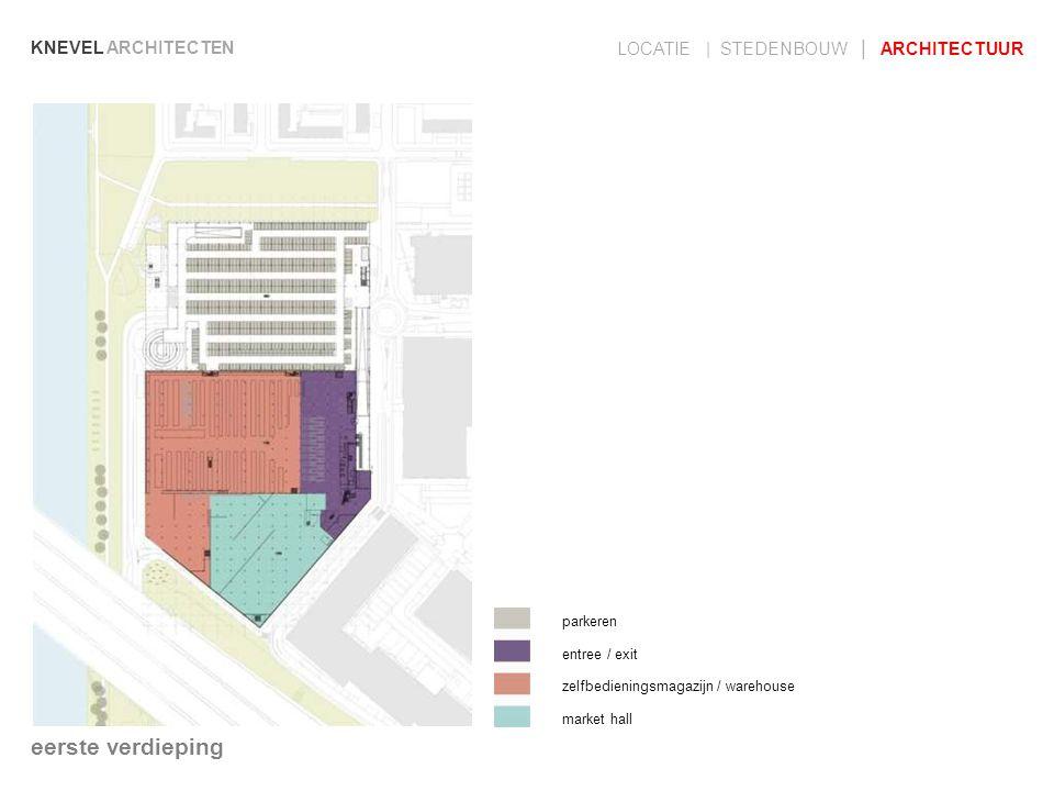 KNEVEL ARCHITECTEN LOCATIE | STEDENBOUW | ARCHITECTUUR parkeren entree / exit zelfbedieningsmagazijn / warehouse market hall eerste verdieping
