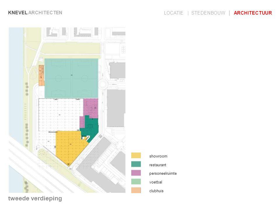 KNEVEL ARCHITECTEN LOCATIE | STEDENBOUW | ARCHITECTUUR showroom restaurant personeelruimte voetbal clubhuis tweede verdieping