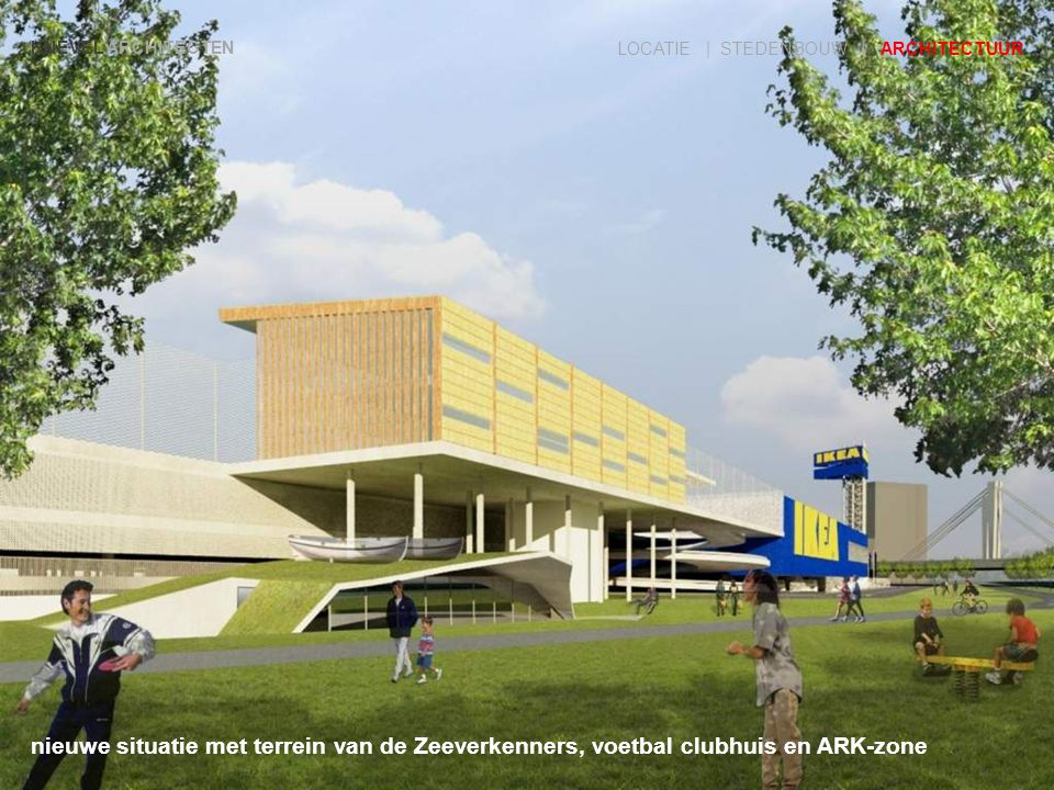 KNEVEL ARCHITECTEN LOCATIE | STEDENBOUW | ARCHITECTUUR nieuwe situatie met terrein van de Zeeverkenners, voetbal clubhuis en ARK-zone