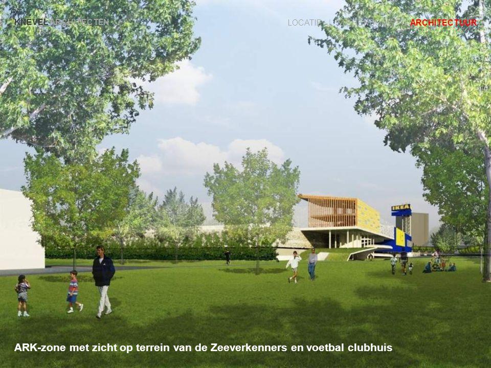 KNEVEL ARCHITECTEN LOCATIE | STEDENBOUW | ARCHITECTUUR ARK-zone met zicht op terrein van de Zeeverkenners en voetbal clubhuis