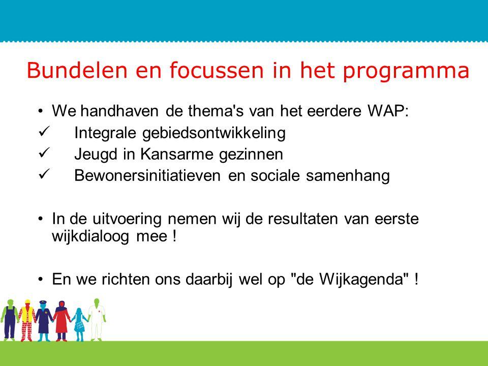 Bundelen en focussen in het programma We handhaven de thema's van het eerdere WAP: Integrale gebiedsontwikkeling Jeugd in Kansarme gezinnen Bewonersin