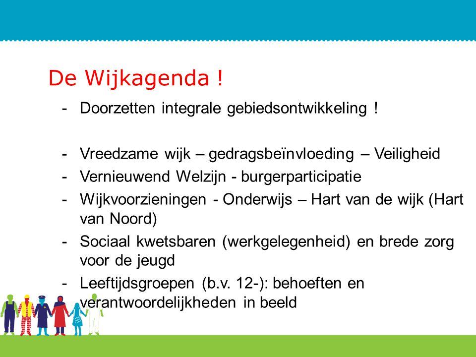 De Wijkagenda ! -Doorzetten integrale gebiedsontwikkeling ! -Vreedzame wijk – gedragsbeïnvloeding – Veiligheid -Vernieuwend Welzijn - burgerparticipat