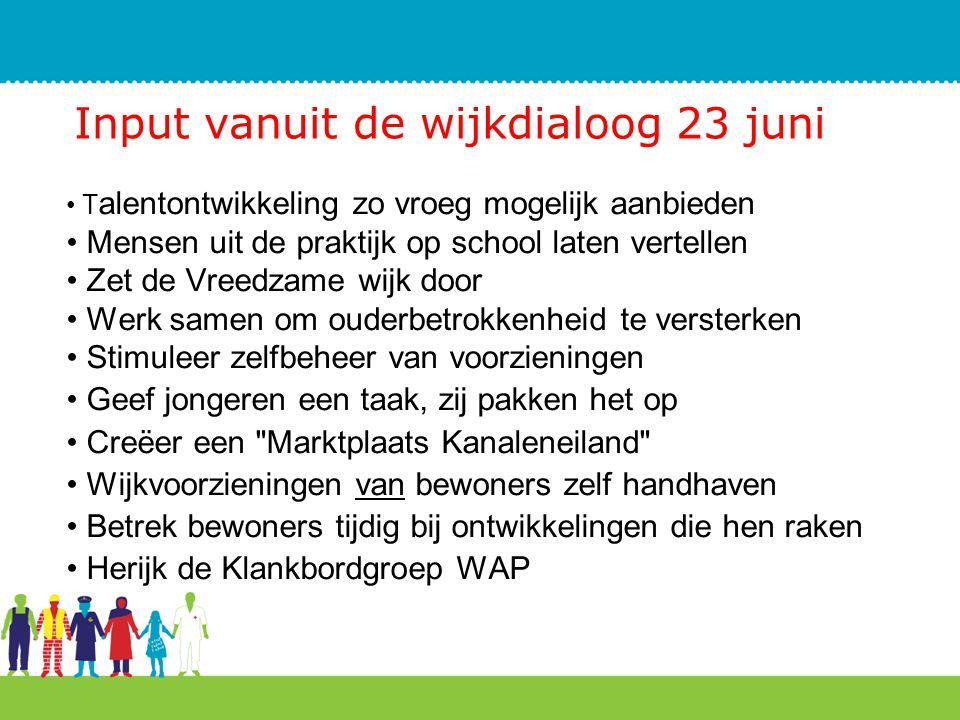 Input vanuit de wijkdialoog 23 juni T alentontwikkeling zo vroeg mogelijk aanbieden Mensen uit de praktijk op school laten vertellen Zet de Vreedzame