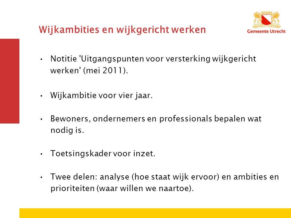 Notitie Uitgangspunten voor versterking wijkgericht werken (mei 2011).