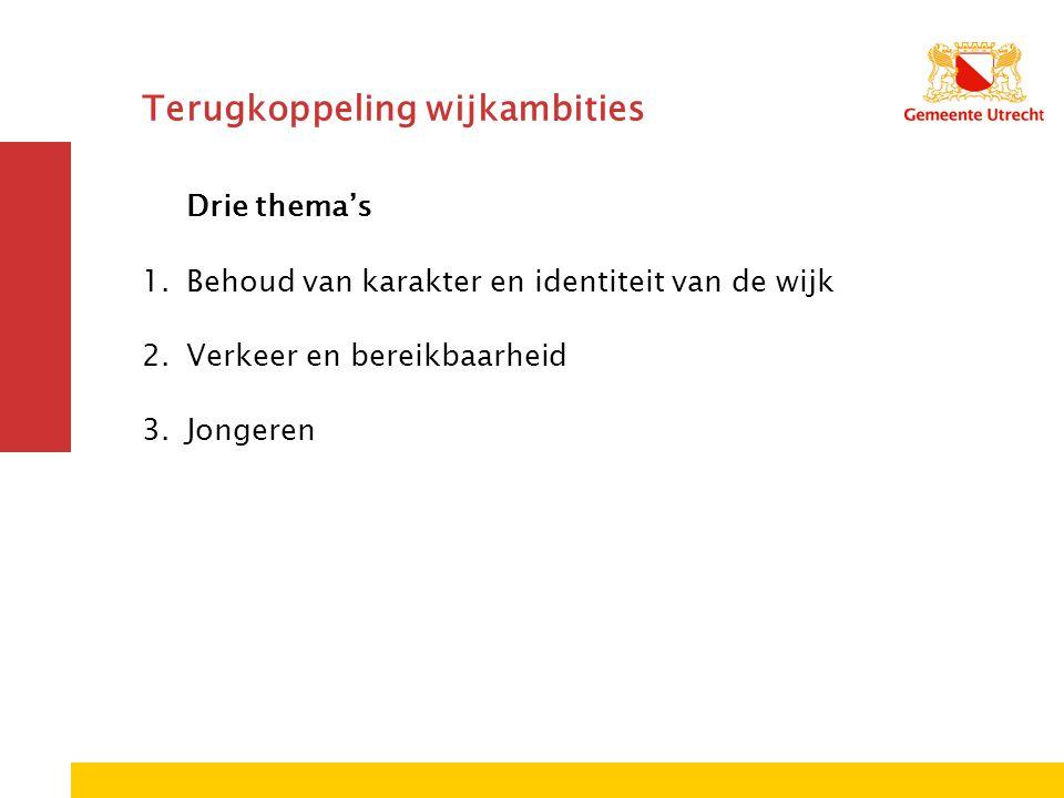 Terugkoppeling wijkambities Drie thema's 1.Behoud van karakter en identiteit van de wijk 2.Verkeer en bereikbaarheid 3.Jongeren