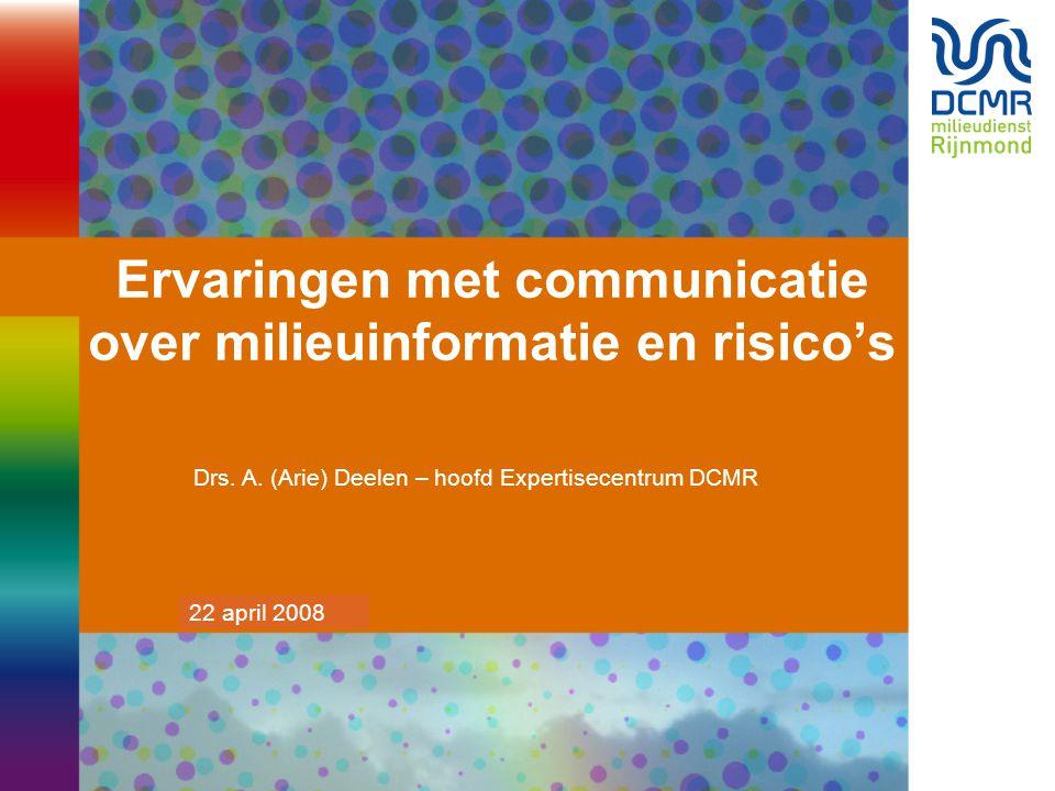 20 maart 2007 Ervaringen met communicatie over milieuinformatie en risico's Drs.