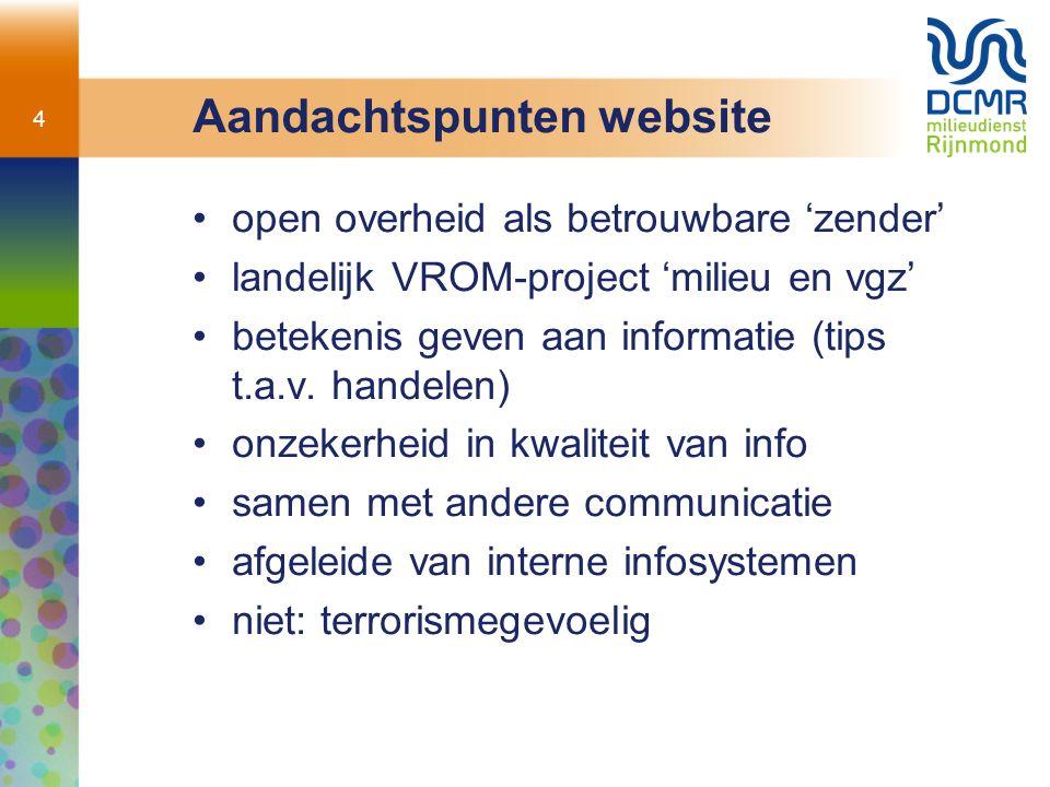 4 Aandachtspunten website open overheid als betrouwbare 'zender' landelijk VROM-project 'milieu en vgz' betekenis geven aan informatie (tips t.a.v.