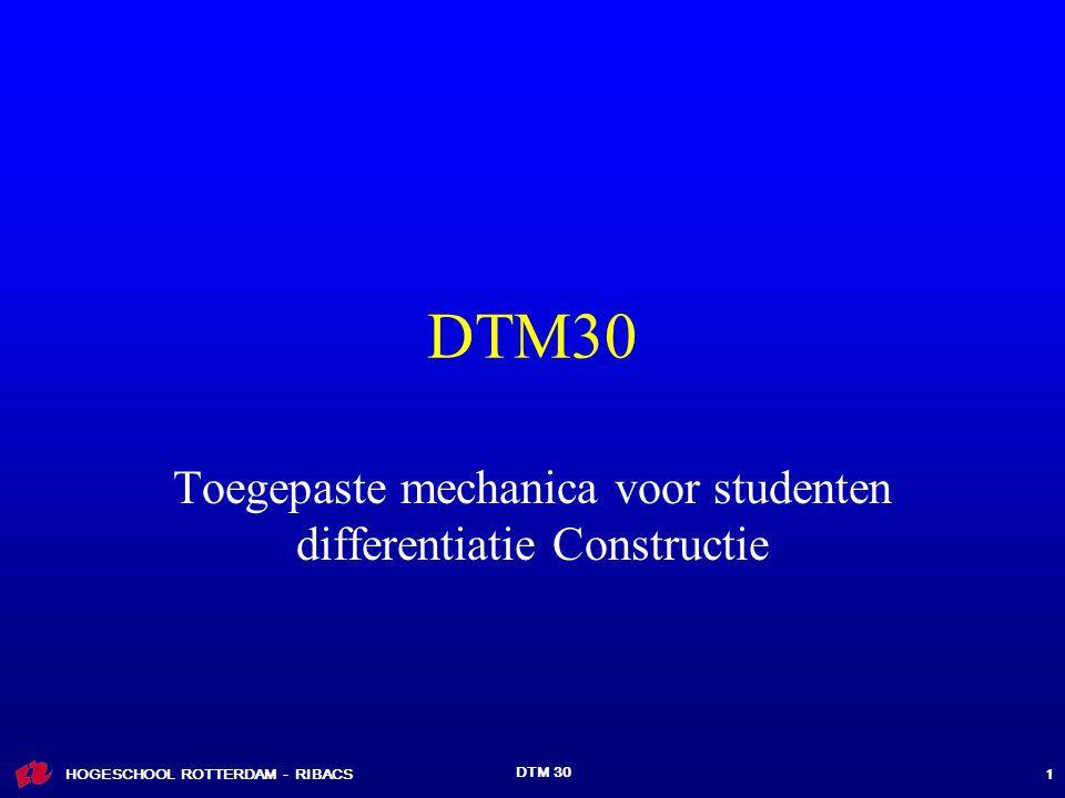 HOGESCHOOL ROTTERDAM - RIBACS DTM 30 1 Toegepaste mechanica voor studenten differentiatie Constructie