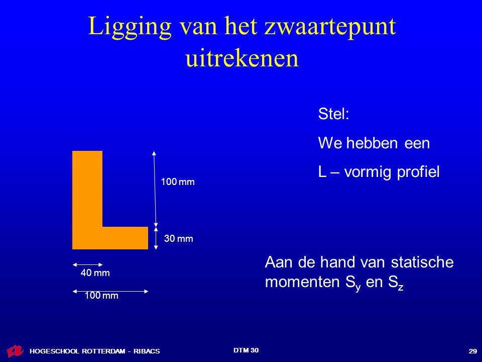 HOGESCHOOL ROTTERDAM - RIBACS DTM 30 29 Ligging van het zwaartepunt uitrekenen Stel: We hebben een L – vormig profiel Aan de hand van statische momenten S y en S z 30 mm 100 mm 40 mm