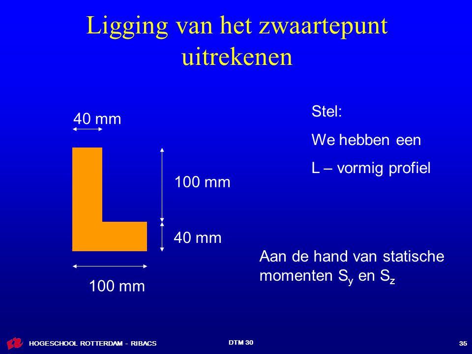 HOGESCHOOL ROTTERDAM - RIBACS DTM 30 35 Ligging van het zwaartepunt uitrekenen 40 mm 100 mm 40 mm Stel: We hebben een L – vormig profiel Aan de hand van statische momenten S y en S z