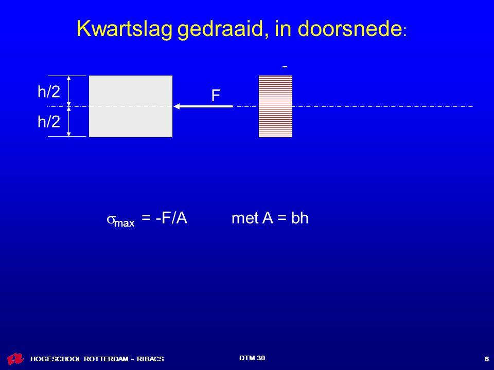 HOGESCHOOL ROTTERDAM - RIBACS DTM 30 6 h/2 F  max = -F/A met A = bh - Kwartslag gedraaid, in doorsnede :