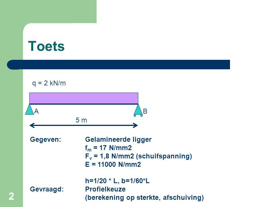 2 Toets 5 m q = 2 kN/m Gegeven:Gelamineerde ligger f m = 17 N/mm2 F v = 1,8 N/mm2 (schuifspanning) E = 11000 N/mm2 h=1/20 * L, b=1/60*L Gevraagd:Profi