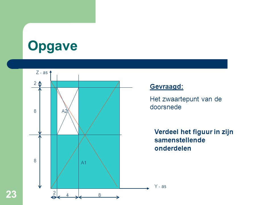 23 Opgave 2 8 8 84 2 Gevraagd: Het zwaartepunt van de doorsnede Y - as Z - as A1 A2 Verdeel het figuur in zijn samenstellende onderdelen