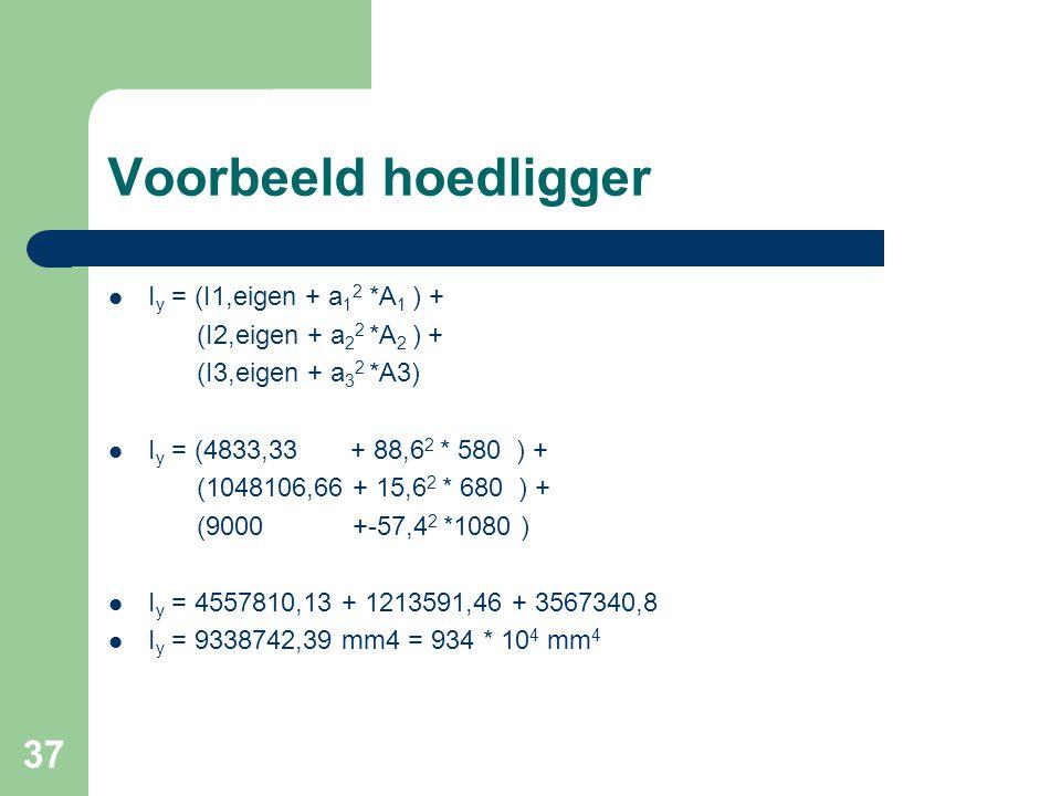 37 Voorbeeld hoedligger I y = (I1,eigen + a 1 2 *A 1 ) + (I2,eigen + a 2 2 *A 2 ) + (I3,eigen + a 3 2 *A3) I y = (4833,33 + 88,6 2 * 580 ) + (1048106,