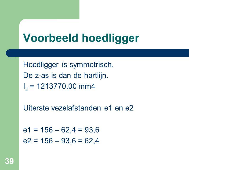 39 Voorbeeld hoedligger Hoedligger is symmetrisch. De z-as is dan de hartlijn. I z = 1213770.00 mm4 Uiterste vezelafstanden e1 en e2 e1 = 156 – 62,4 =
