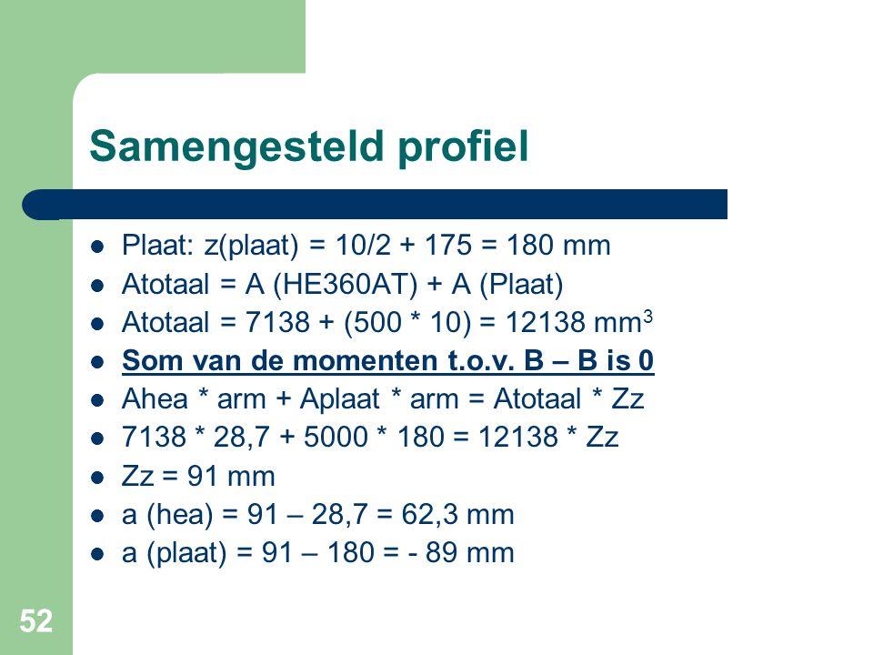 52 Samengesteld profiel Plaat: z(plaat) = 10/2 + 175 = 180 mm Atotaal = A (HE360AT) + A (Plaat) Atotaal = 7138 + (500 * 10) = 12138 mm 3 Som van de mo