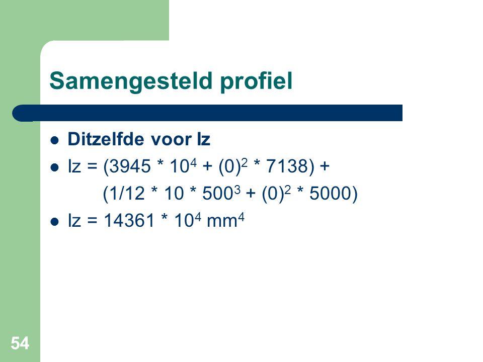 54 Samengesteld profiel Ditzelfde voor Iz Iz = (3945 * 10 4 + (0) 2 * 7138) + (1/12 * 10 * 500 3 + (0) 2 * 5000) Iz = 14361 * 10 4 mm 4