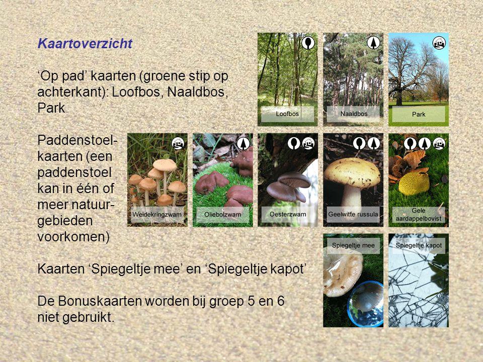 Kaartoverzicht 'Op pad' kaarten (groene stip op achterkant): Loofbos, Naaldbos, Park Paddenstoel- kaarten (een paddenstoel kan in één of meer natuur- gebieden voorkomen) Kaarten 'Spiegeltje mee' en 'Spiegeltje kapot' De Bonuskaarten worden bij groep 5 en 6 niet gebruikt.