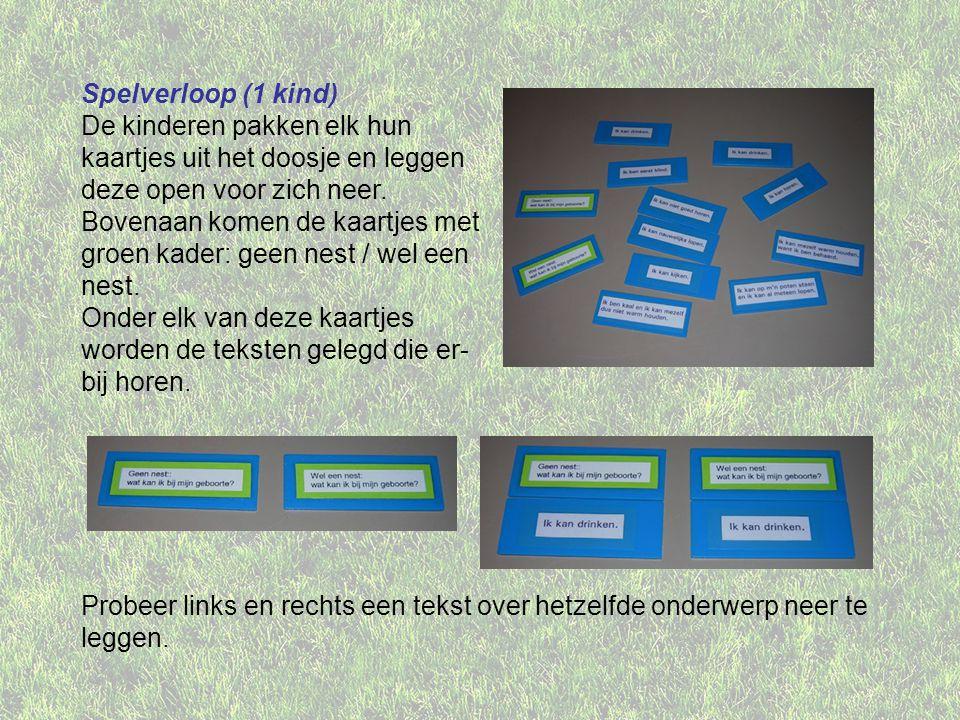 Spelverloop (1 kind) De kinderen pakken elk hun kaartjes uit het doosje en leggen deze open voor zich neer.