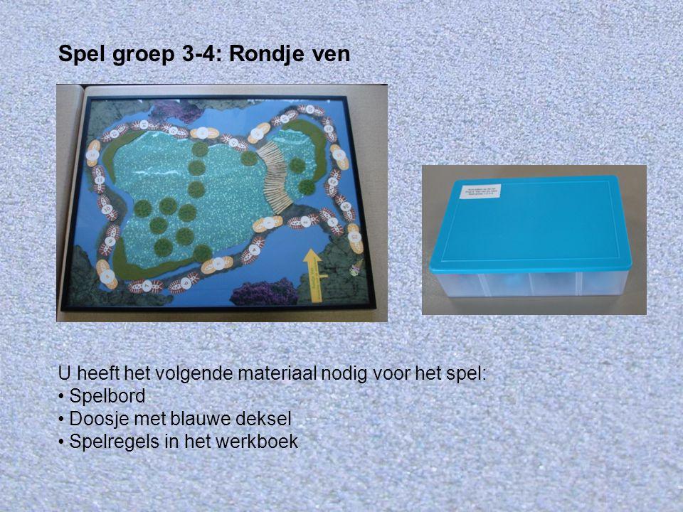 U heeft het volgende materiaal nodig voor het spel: Spelbord Doosje met blauwe deksel Spelregels in het werkboek Spel groep 3-4: Rondje ven