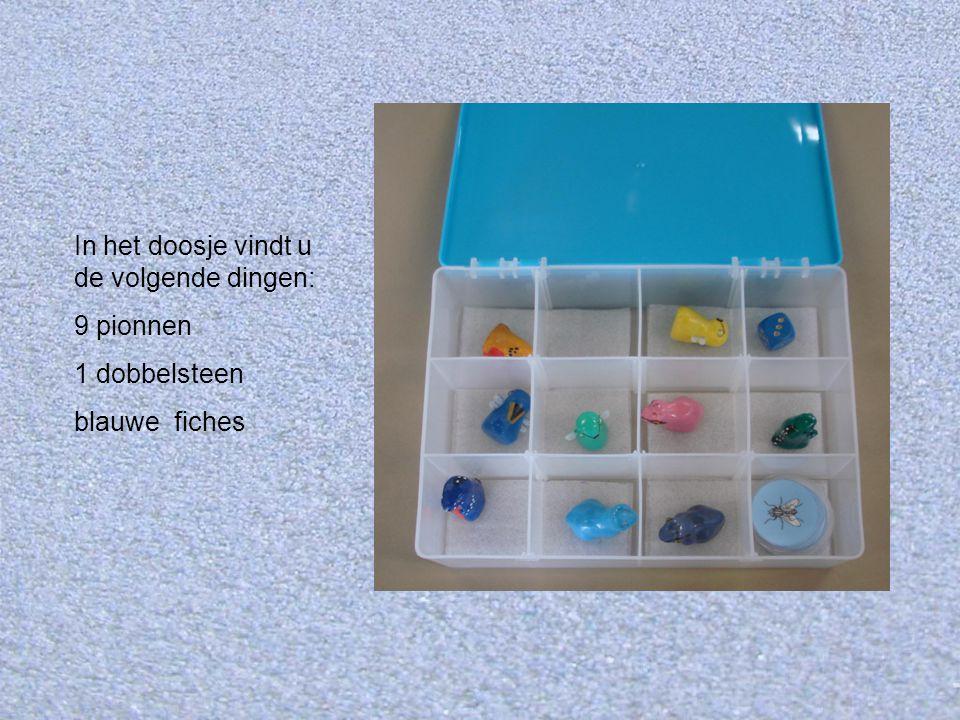 In het doosje vindt u de volgende dingen: 9 pionnen 1 dobbelsteen blauwe fiches