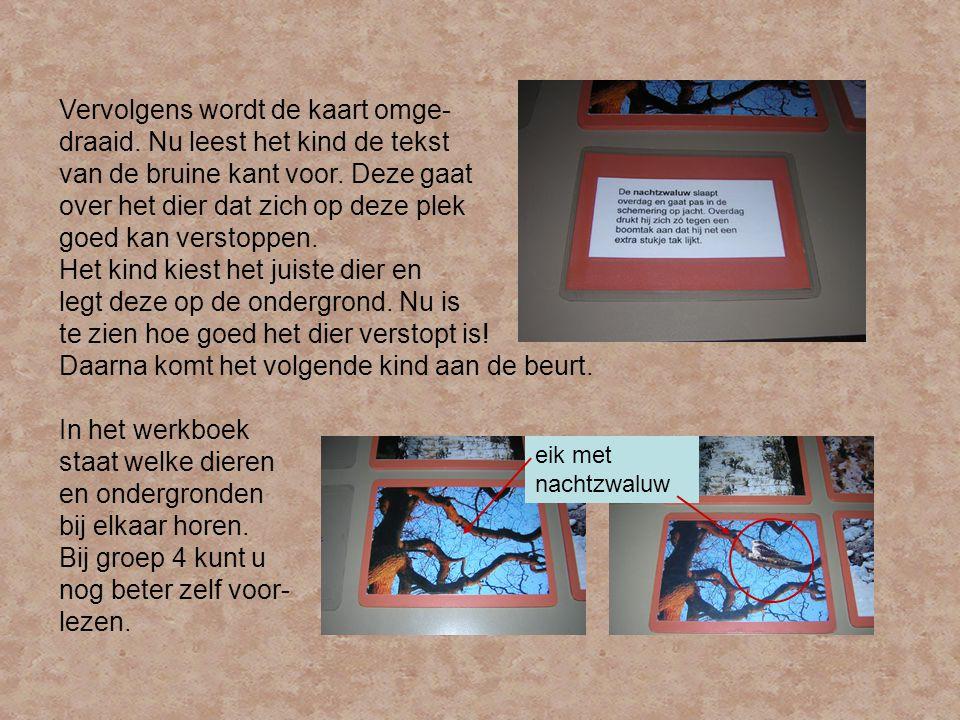 Vervolgens wordt de kaart omge- draaid.Nu leest het kind de tekst van de bruine kant voor.