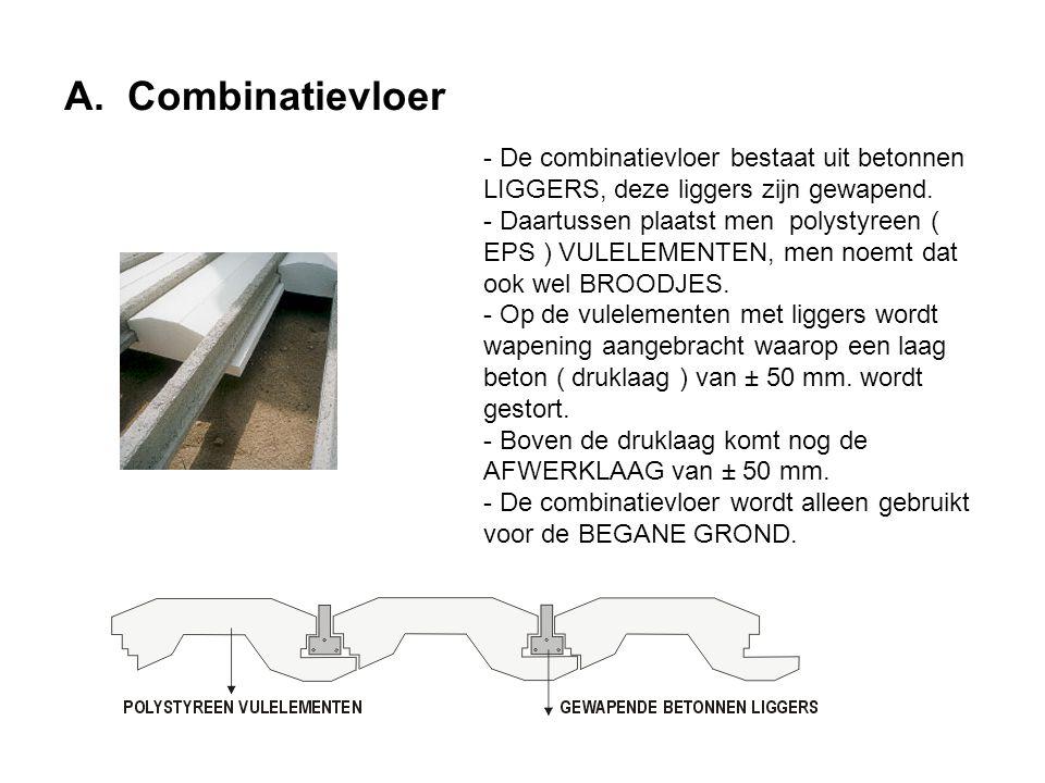 A. Combinatievloer - De combinatievloer bestaat uit betonnen LIGGERS, deze liggers zijn gewapend. - Daartussen plaatst men polystyreen ( EPS ) VULELEM