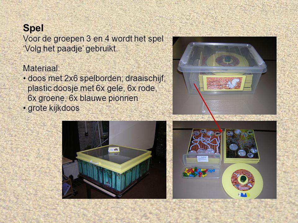 Spel Voor de groepen 3 en 4 wordt het spel 'Volg het paadje' gebruikt. Materiaal: doos met 2x6 spelborden; draaischijf; plastic doosje met 6x gele, 6x