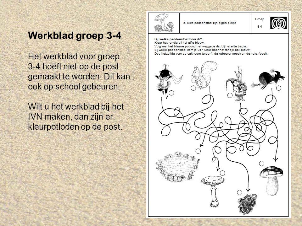 Werkblad groep 3-4 Het werkblad voor groep 3-4 hoeft niet op de post gemaakt te worden. Dit kan ook op school gebeuren. Wilt u het werkblad bij het IV