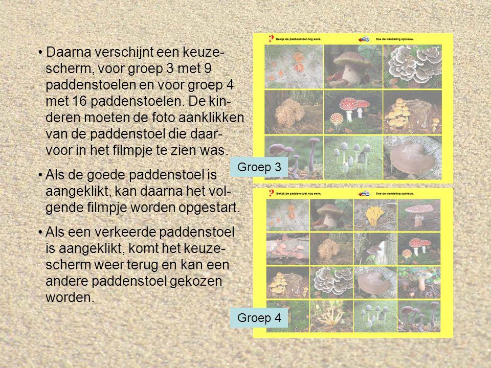 Daarna verschijnt een keuze- scherm, voor groep 3 met 9 paddenstoelen en voor groep 4 met 16 paddenstoelen. De kin- deren moeten de foto aanklikken va