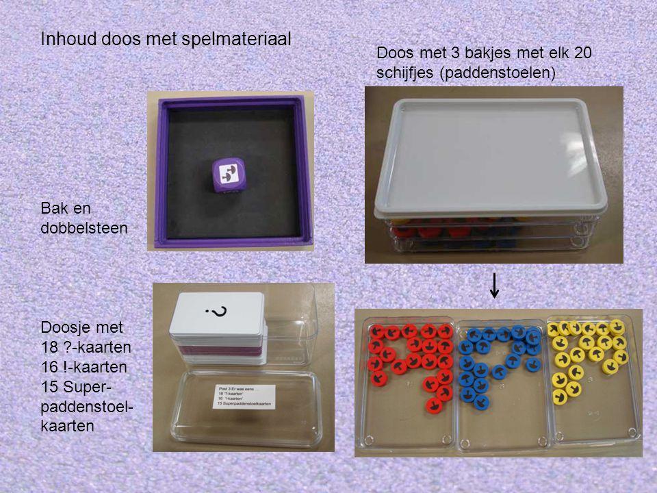Inhoud doos met spelmateriaal Doosje met 18 ?-kaarten 16 !-kaarten 15 Super- paddenstoel- kaarten Doos met 3 bakjes met elk 20 schijfjes (paddenstoelen) Bak en dobbelsteen