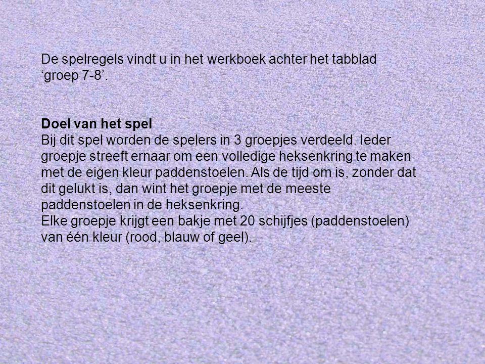 De spelregels vindt u in het werkboek achter het tabblad 'groep 7-8'.