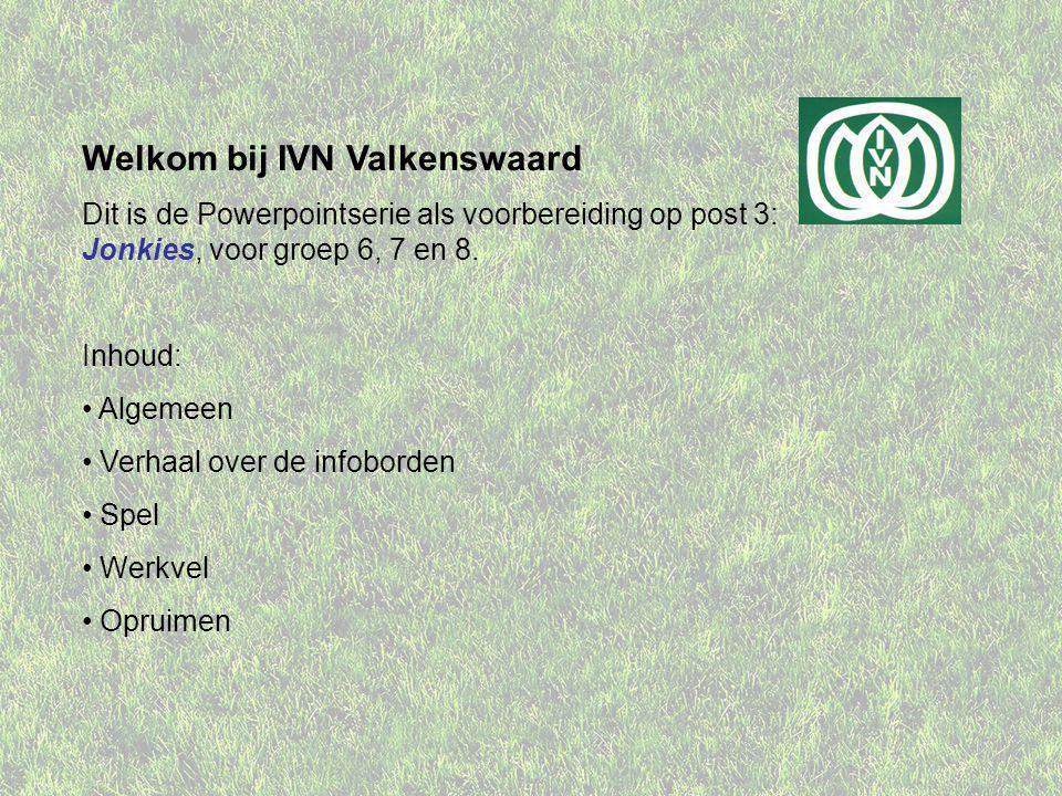 Welkom bij IVN Valkenswaard Dit is de Powerpointserie als voorbereiding op post 3: Jonkies, voor groep 6, 7 en 8.