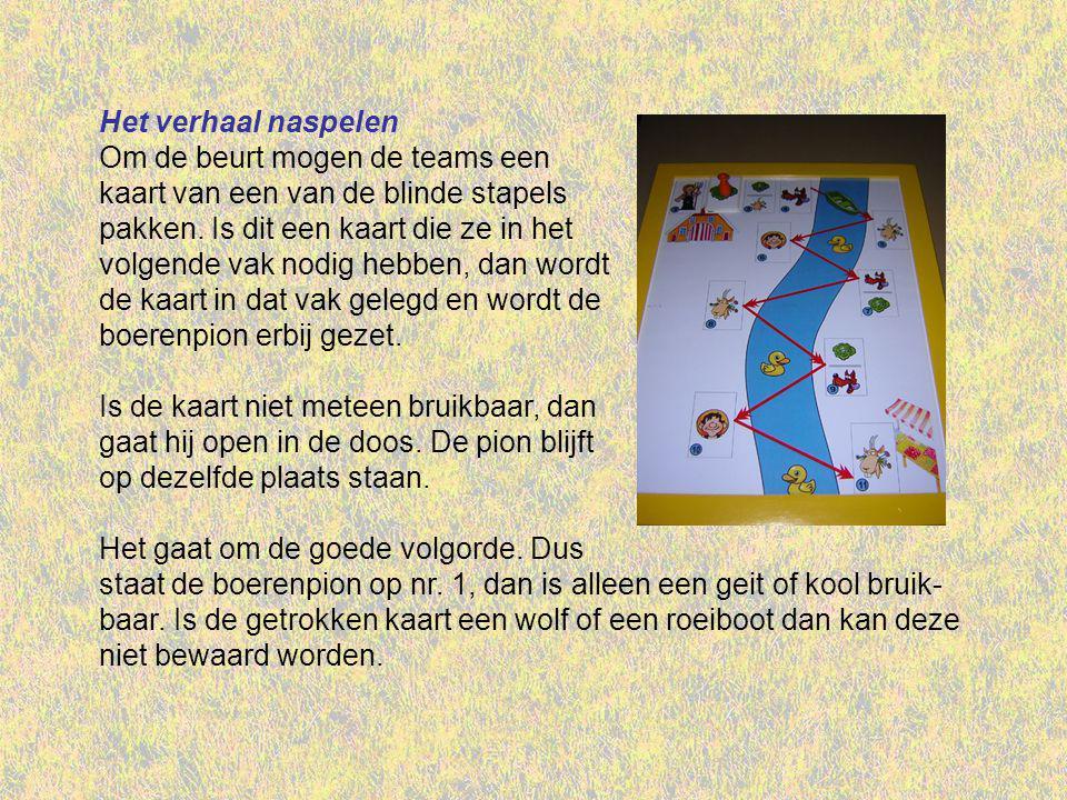 Het verhaal naspelen Om de beurt mogen de teams een kaart van een van de blinde stapels pakken.