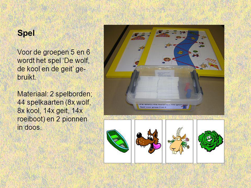 Spel Voor de groepen 5 en 6 wordt het spel 'De wolf, de kool en de geit' ge- bruikt. Materiaal: 2 spelborden; 44 spelkaarten (8x wolf, 8x kool, 14x ge
