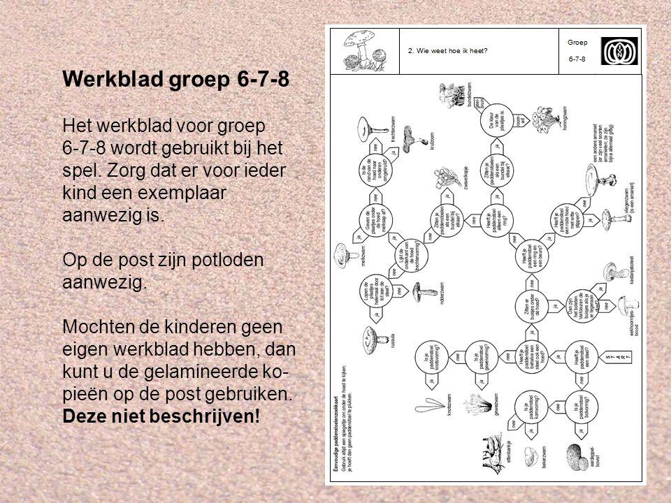 Werkblad groep 6-7-8 Het werkblad voor groep 6-7-8 wordt gebruikt bij het spel. Zorg dat er voor ieder kind een exemplaar aanwezig is. Op de post zijn