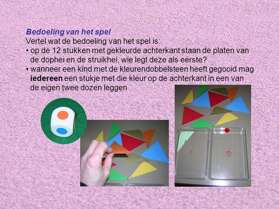 Bedoeling van het spel Vertel wat de bedoeling van het spel is: op de 12 stukken met gekleurde achterkant staan de platen van de dophei en de struikhei, wie legt deze als eerste.
